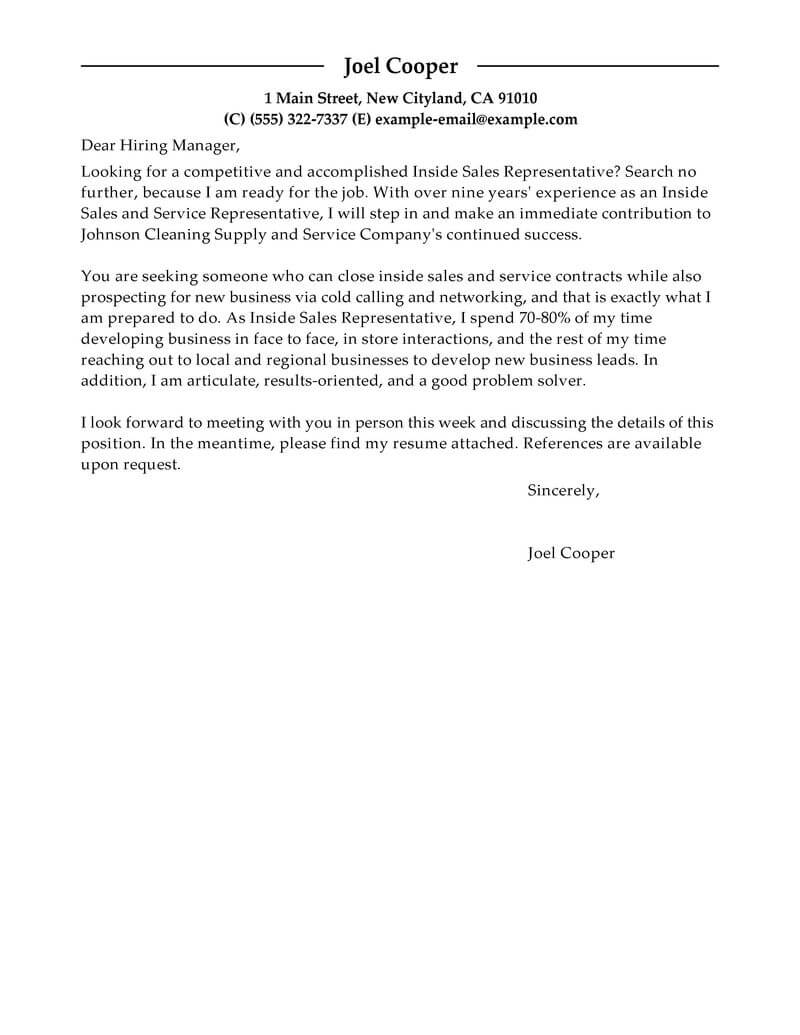 Internal Sales Executive Cover Letter Best Inside Sales Cover Letter Examples Livecareer