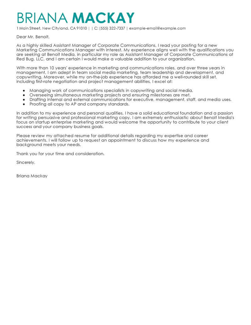 Internal Sales Executive Cover Letter Best Assistant Manager Cover Letter Examples Livecareer