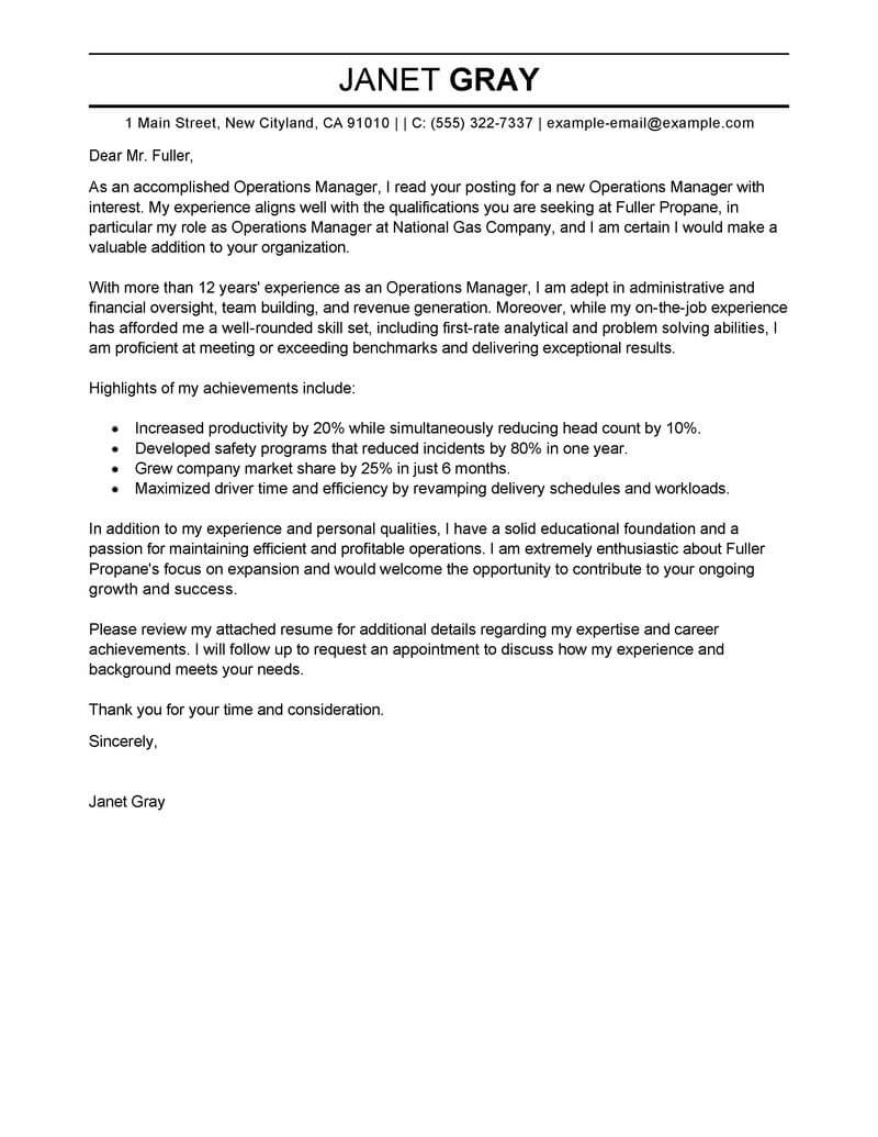 Operations Manager Cover Letter Best Operations Manager Cover Letter Examples Livecareer