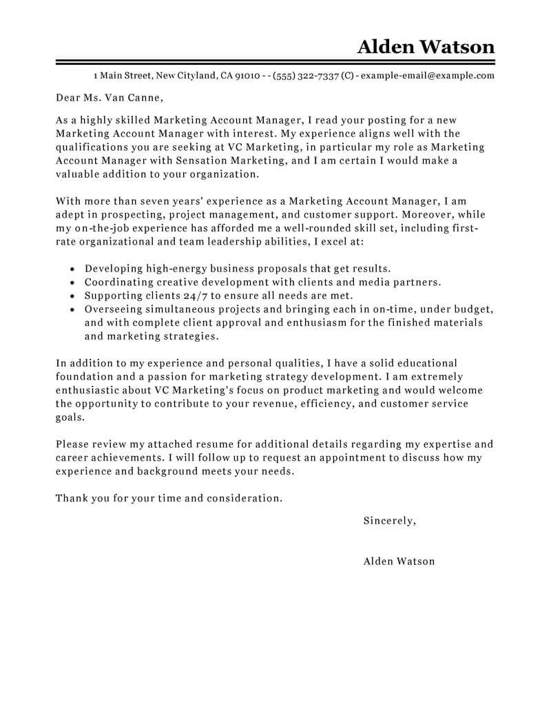 Activity Manager Cover Letter Best Account Manager Cover Letter Examples Livecareer