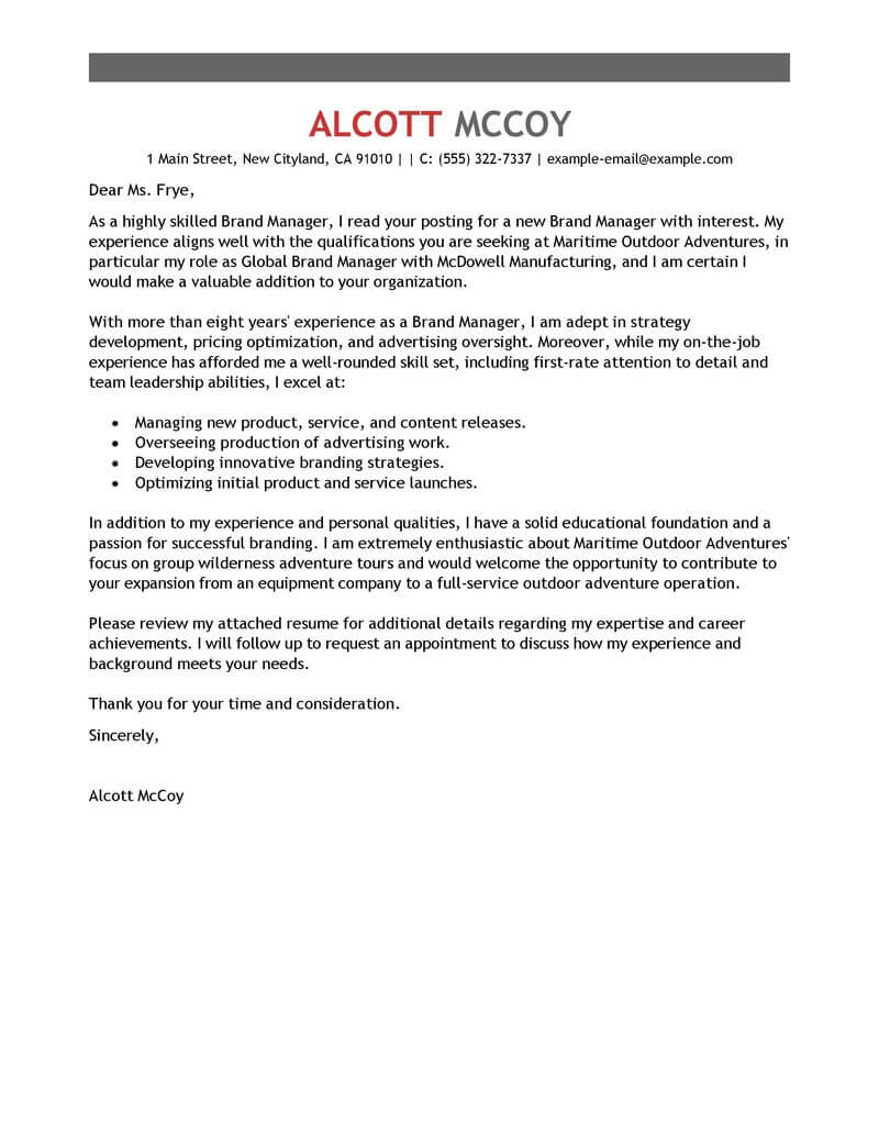 Branch Supervisor Cover Letter Best Brand Manager Cover Letter Examples Livecareer