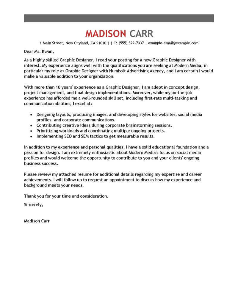 Free Cover Letter Examples For Resume Best Graphic Designer Cover Letter Examples Livecareer