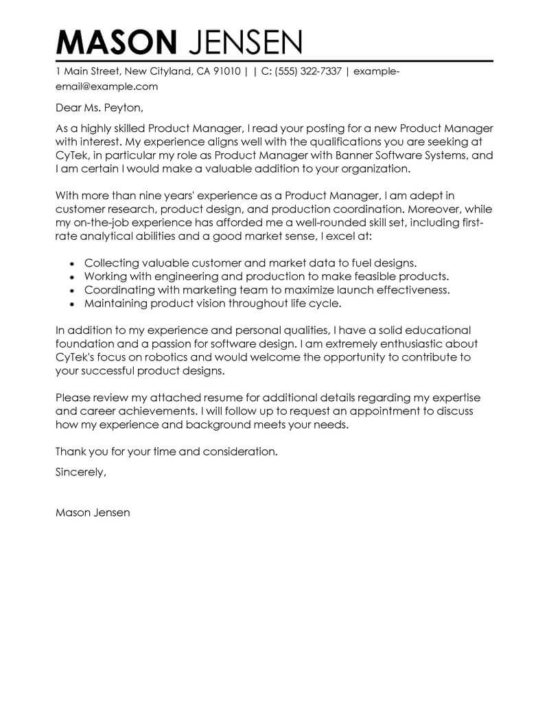 Document Control Specialist Cover Letter Best Product Manager Cover Letter Examples Livecareer