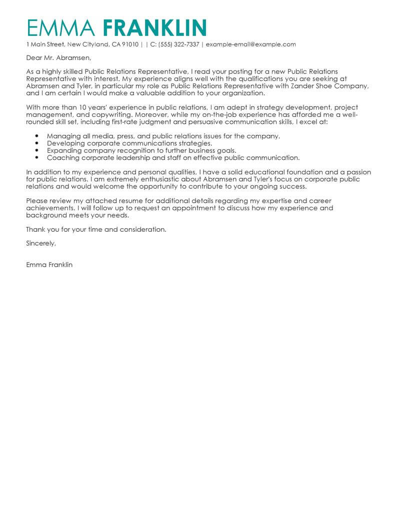 Media Relations Cover Letter Best Public Relations Cover Letter Examples Livecareer
