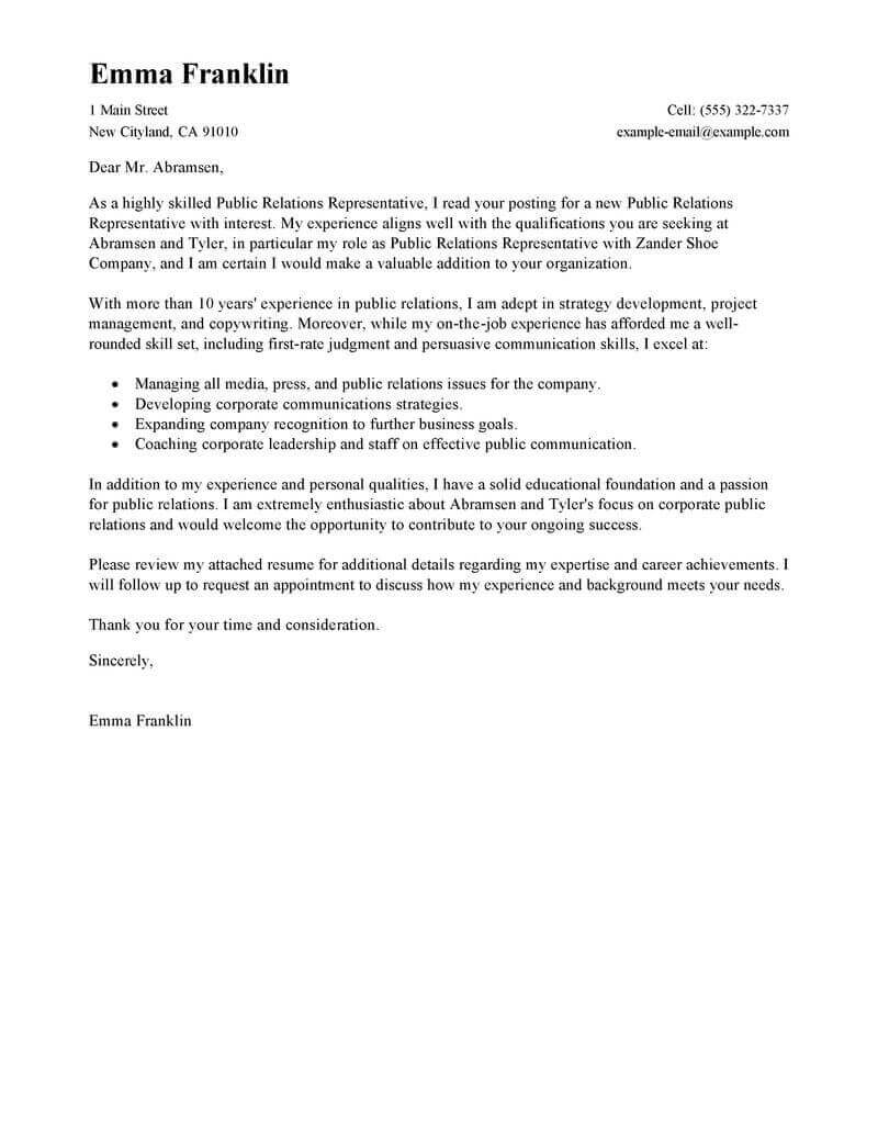Public Relations Executive Cover Letter Best Public Relations Cover Letter Examples Livecareer