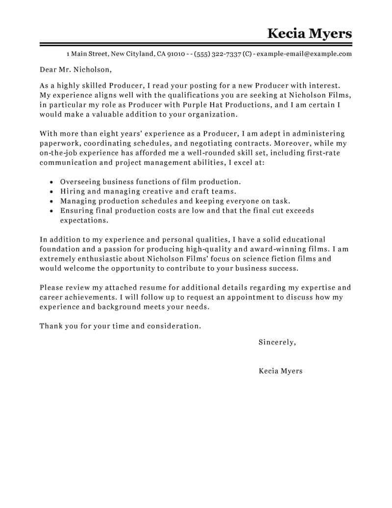 Er Registration Clerk Cover Letter Best Media Entertainment Cover Letter Examples Livecareer