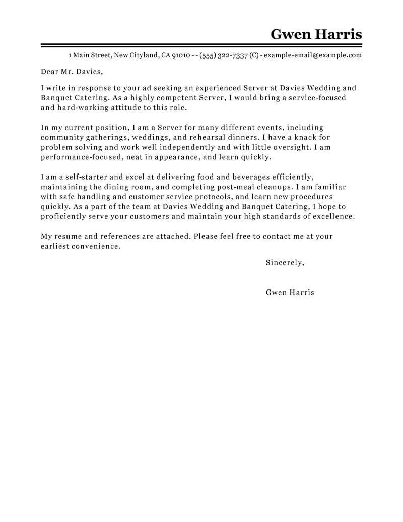 Server Cover Letter Best Server Cover Letter Examples Livecareer