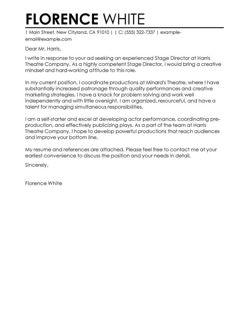 Theatre Assistant Cover Letter Best Medical Cover Letter Examples Livecareer