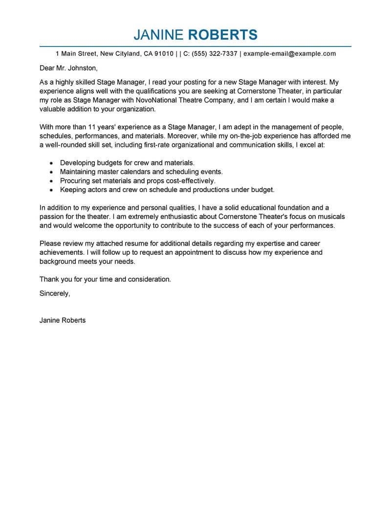Branch Supervisor Cover Letter Best Supervisor Cover Letter Examples Livecareer