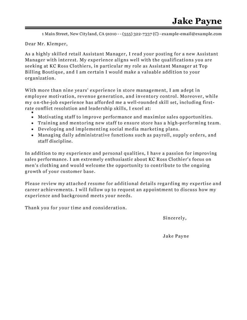 Cover Letter For Retail Best Retail Assistant Manager Cover Letter Examples Livecareer