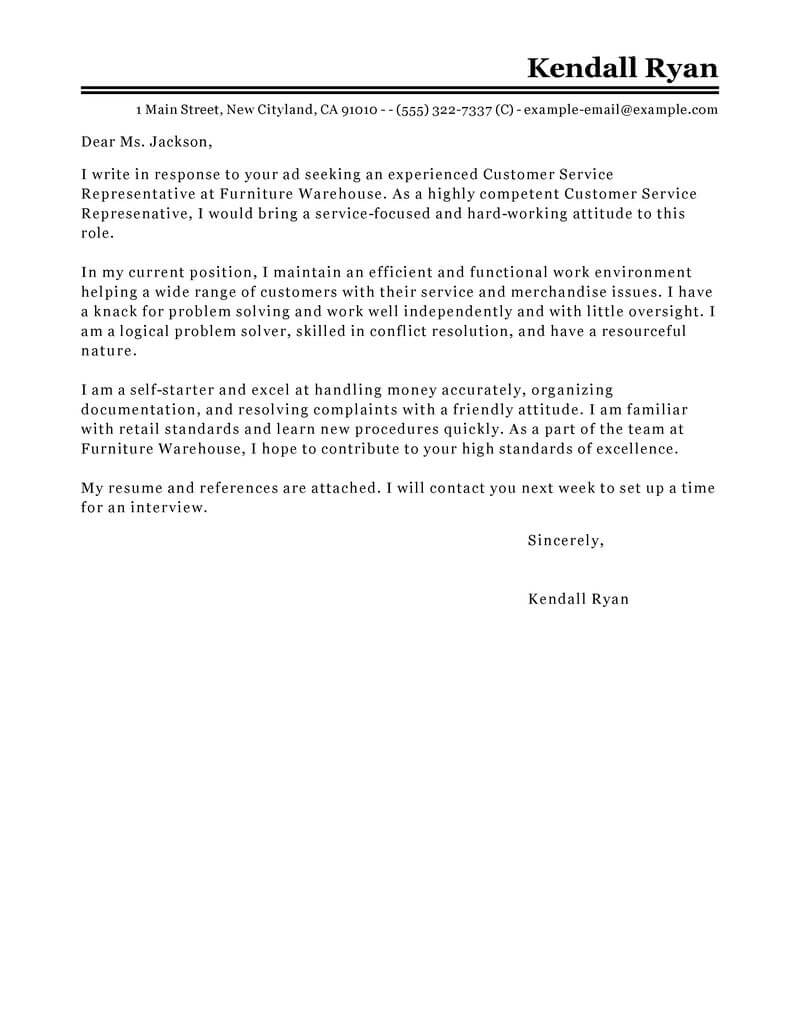Chat Agent Cover Letter Best Customer Service Representative Cover Letter Examples