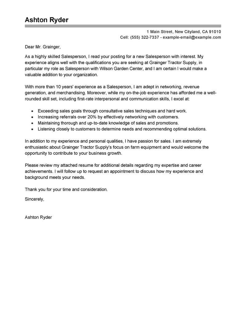Targeted Cover Letter Best Salesperson Cover Letter Examples Livecareer