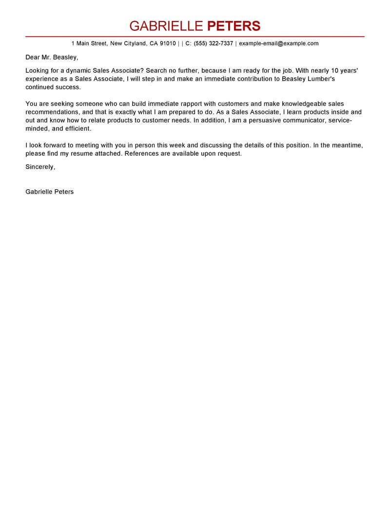 Cover Letter For A Sales Associate Best Sales Associate Cover Letter Examples Livecareer