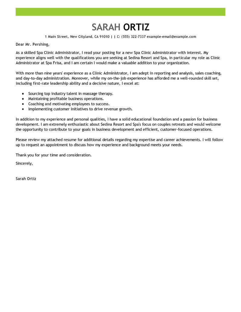 Clinical Team Leader Cover Letter Best Clinic Administrator Cover Letter Examples Livecareer