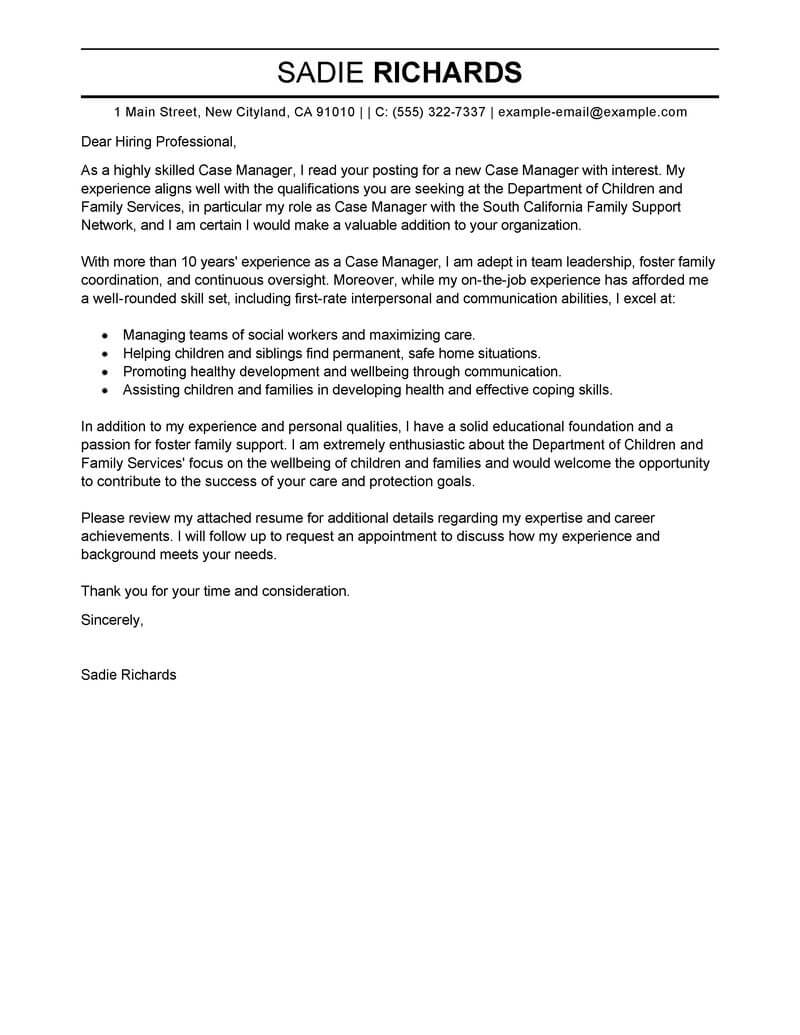 Cover Letter For Case Manager Position Best Case Manager Cover Letter Examples Livecareer