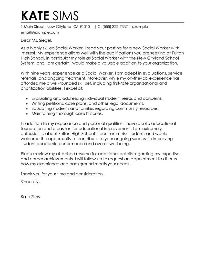 High School Graduation Coach Cover Letter Best Social Worker Cover Letter Examples Livecareer