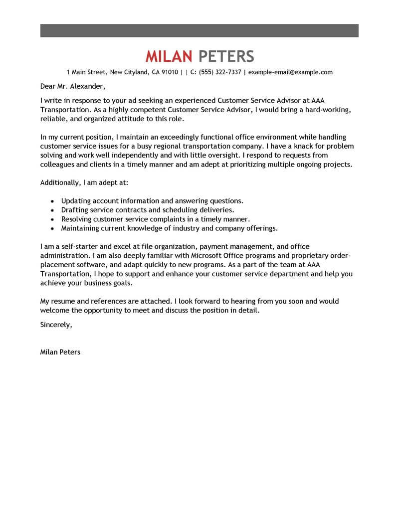 The Resume Place Complaints Best Transportation Customer Service Advisor Cover Letter Examples