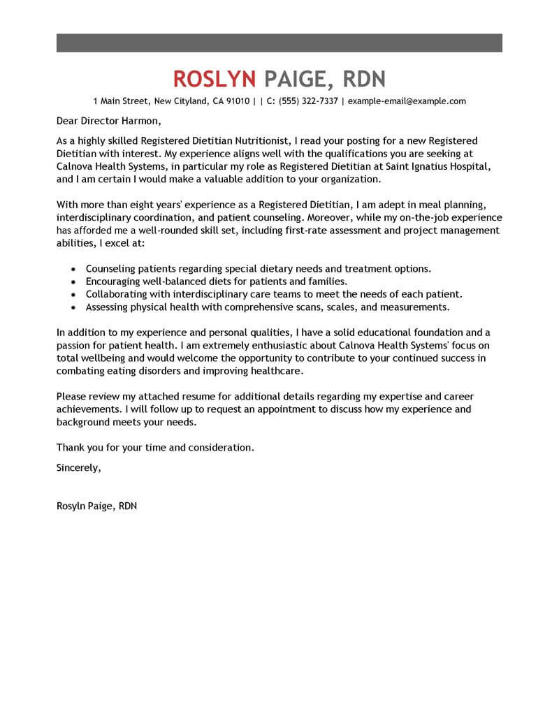 Chef Consultant Cover Letter Best Wellness Cover Letter Examples Livecareer