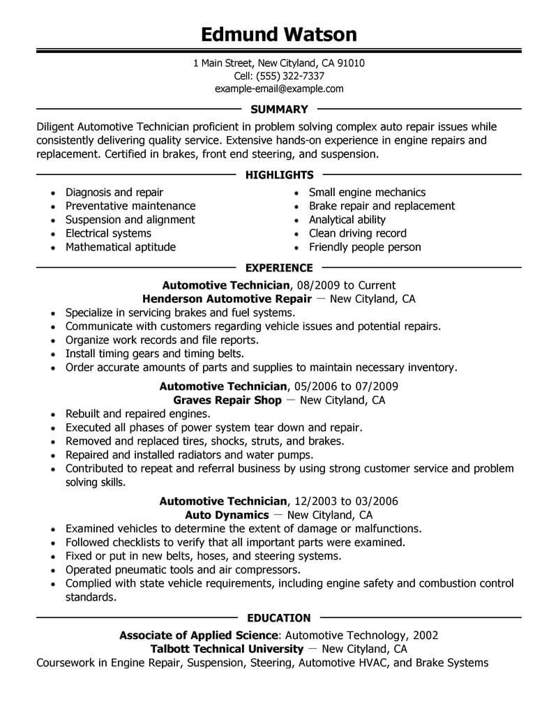Good Resume Examples For Jobs Best Automotive Technician Resume Example Livecareer