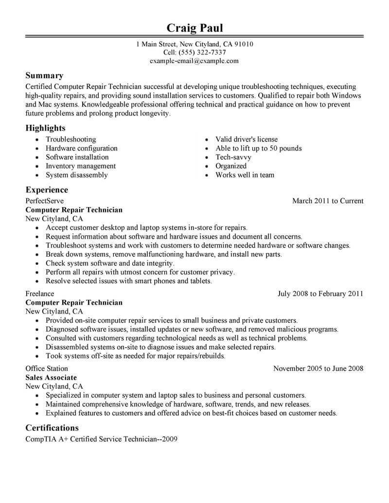 Computer Technician Resume Sample Best Computer Repair Technician Resume Example Livecareer