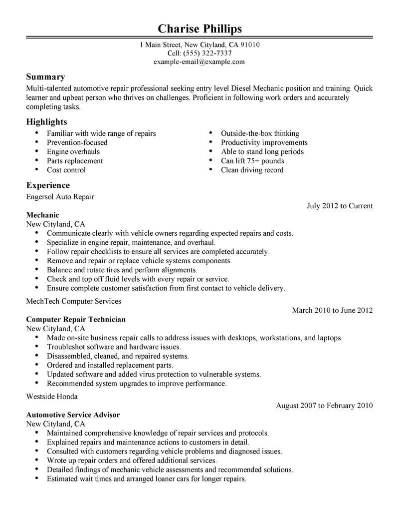 Resume Examples For Entry Level Best Entry Level Mechanic Resume Example Livecareer
