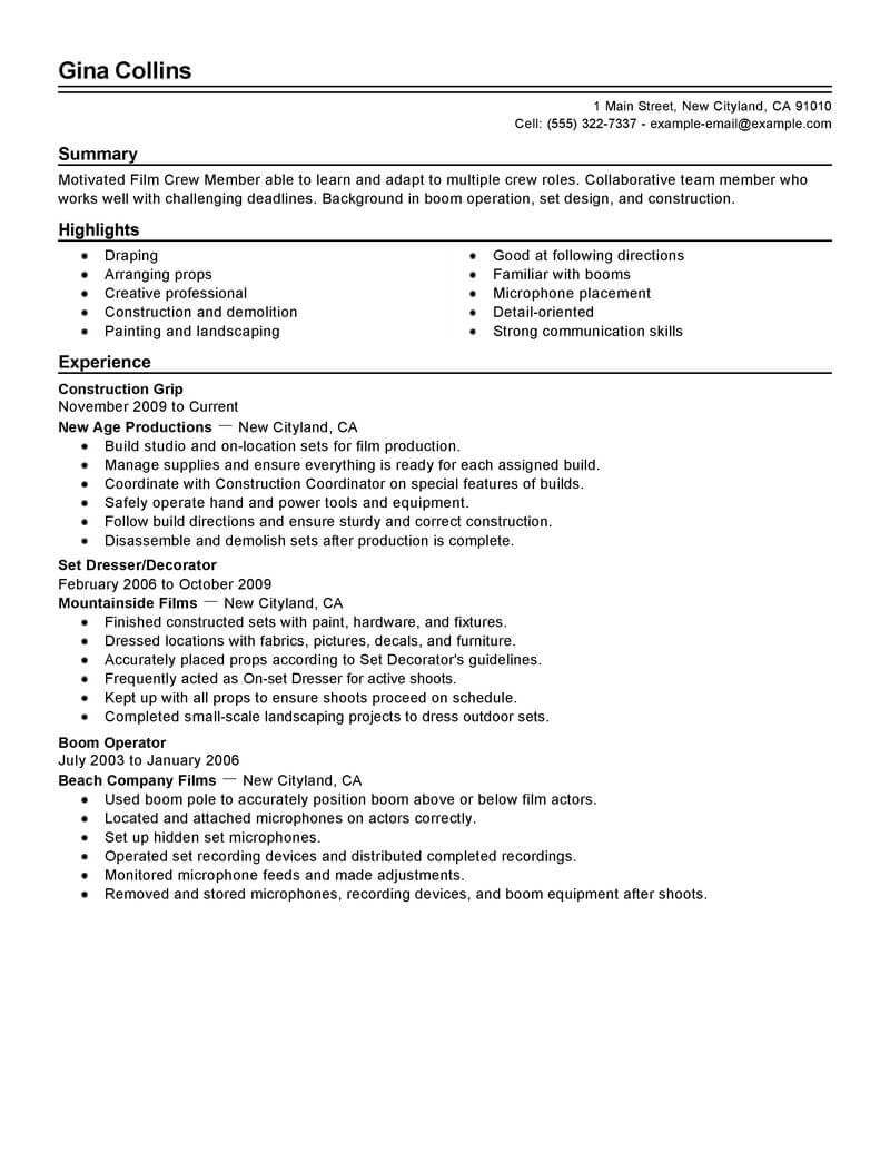 Filmmaker Resume Template Best Film Crew Resume Example Livecareer