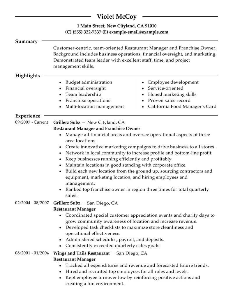 Business Owner Resume Examples Best Franchise Owner Resume Example Livecareer