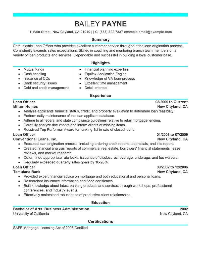 Debt Counselor Cover Letter Best Loan Officer Resume Example Livecareer