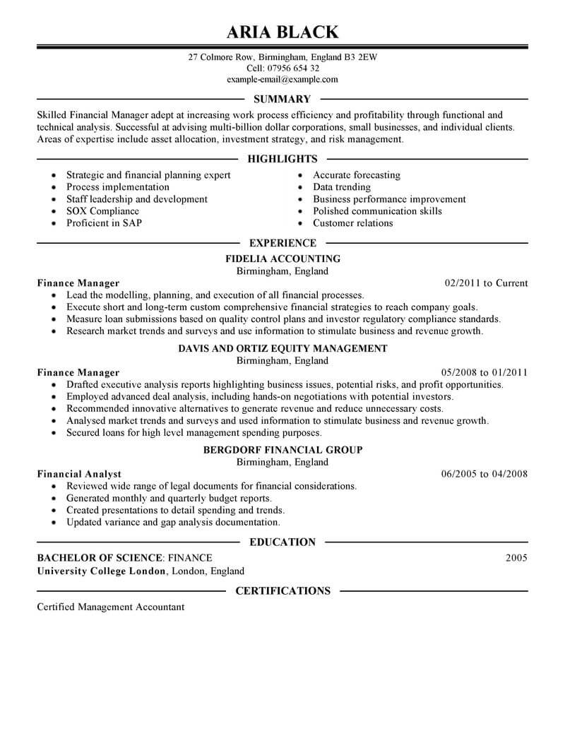 Audit Manager Resume 8 Amazing Finance Resume Examples Livecareer