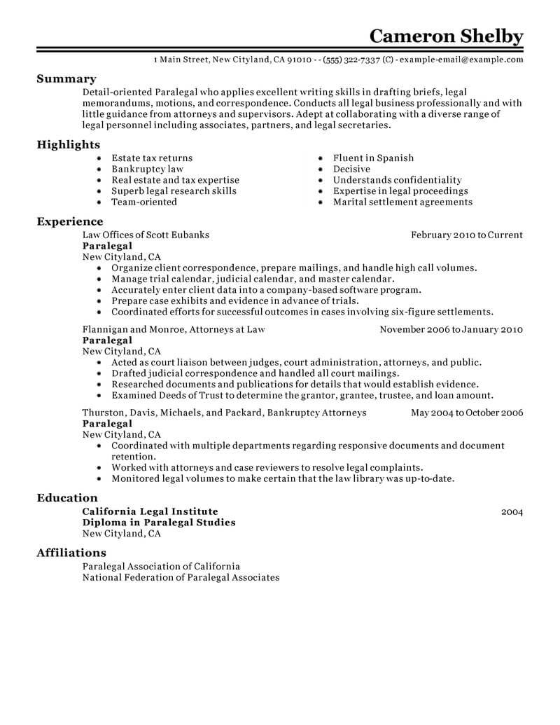 Paralegal Resume Objective Best Paralegal Resume Example Livecareer