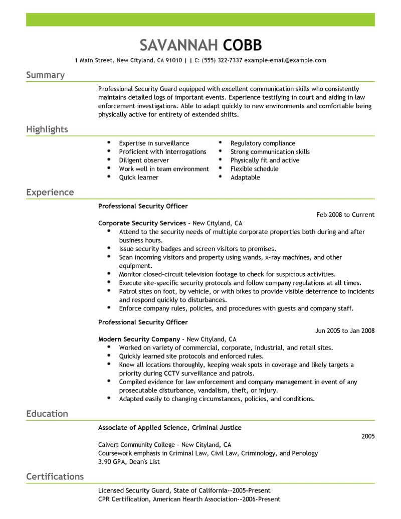 Campus Security Officer Cover Letter Best Professional Security Officer Resume Example Livecareer