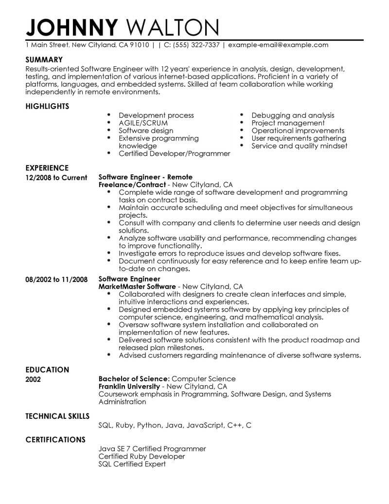 Software Professional Resume Samples Best Remote Software Engineer Resume Example Livecareer