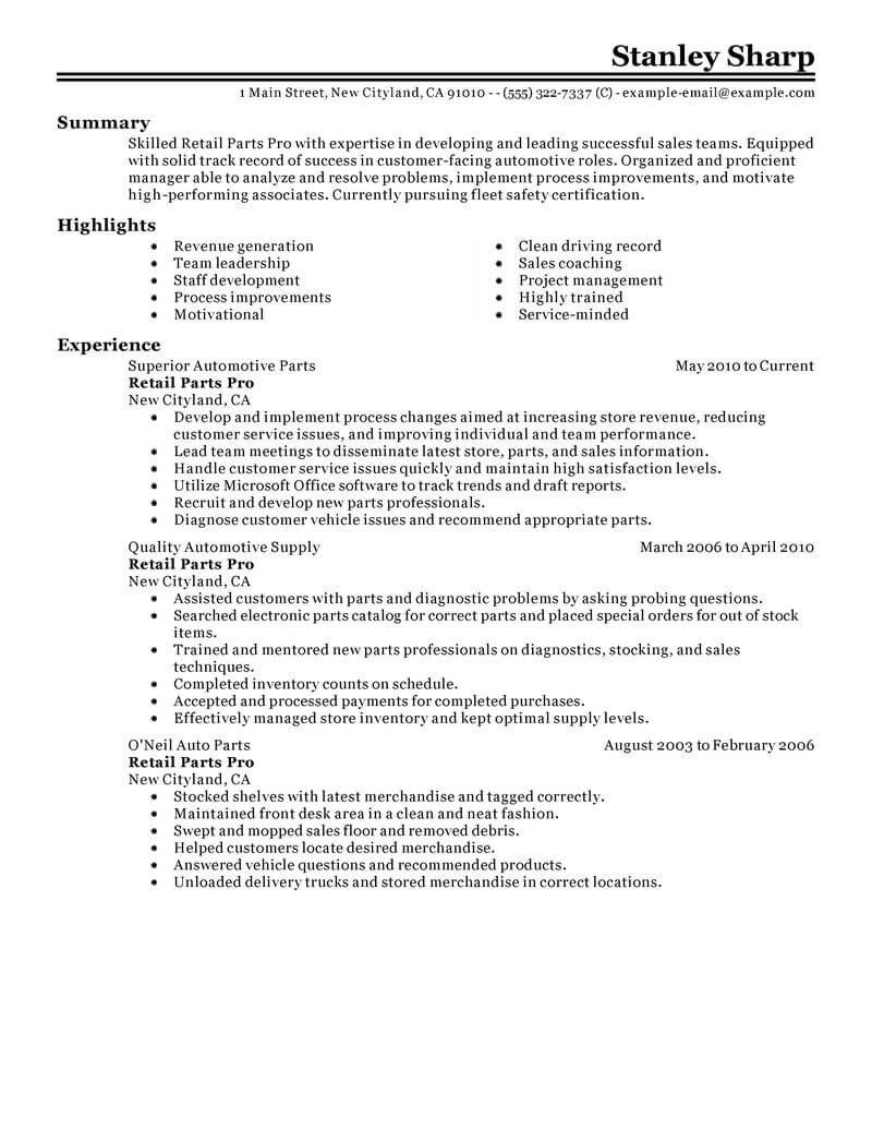 How To Write A Resume For Retail Best Retail Parts Pro Resume Example Livecareer