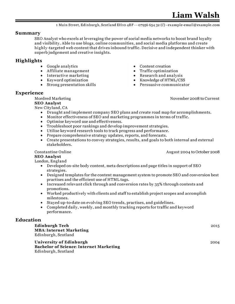 Internet Marketing Consultant Cover Letter Best Seo Resume Example Livecareer
