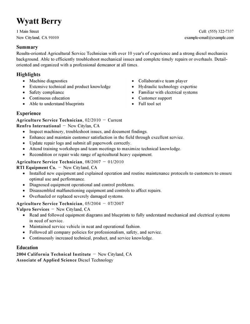 Resume Service Best Service Technician Resume Example Livecareer