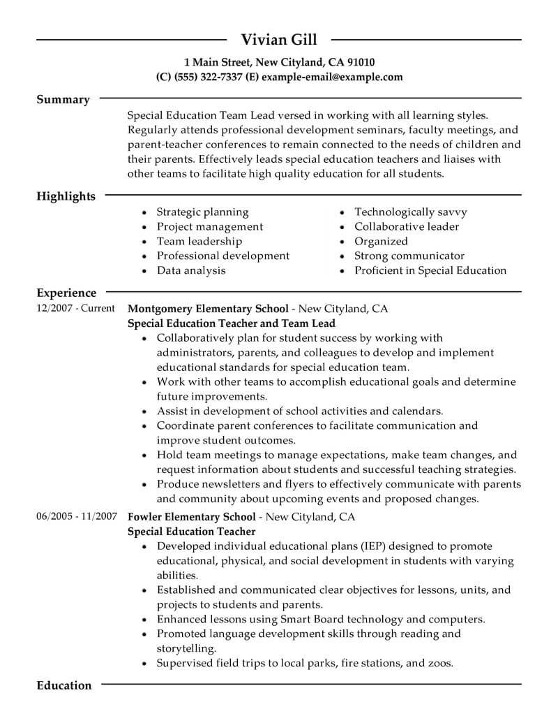 Resumes Examples For Teachers 12 Amazing Education Resume Examples Livecareer