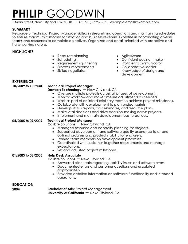 Wireless Project Manager Cover Letter Best Technical Project Manager Resume Example Livecareer