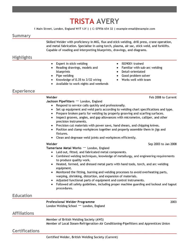Iti Resume Format Best Welder Resume Example Livecareer