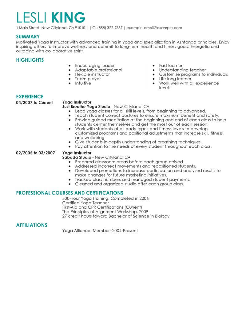 Current Goal On Resume Best Yoga Instructor Resume Example Livecareer
