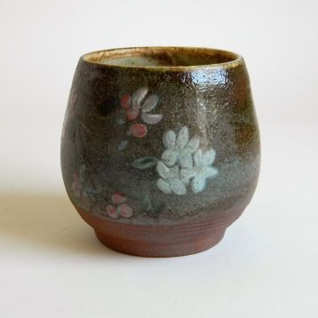 "Apple Blossom Bowl, $40. 4"" h x 3.5"" w, painted with underglazes and wood-fired to cone 10"