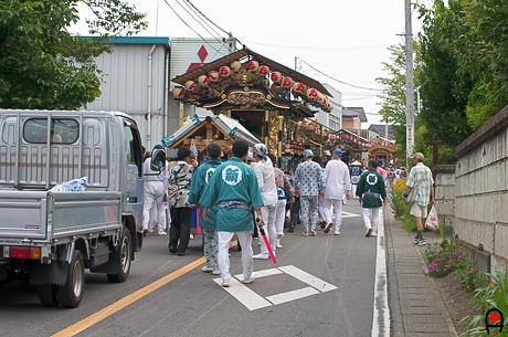 益子祇園祭渋滞屋台の写真