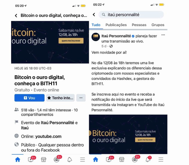 Itaú has organized events about Bitcoin products