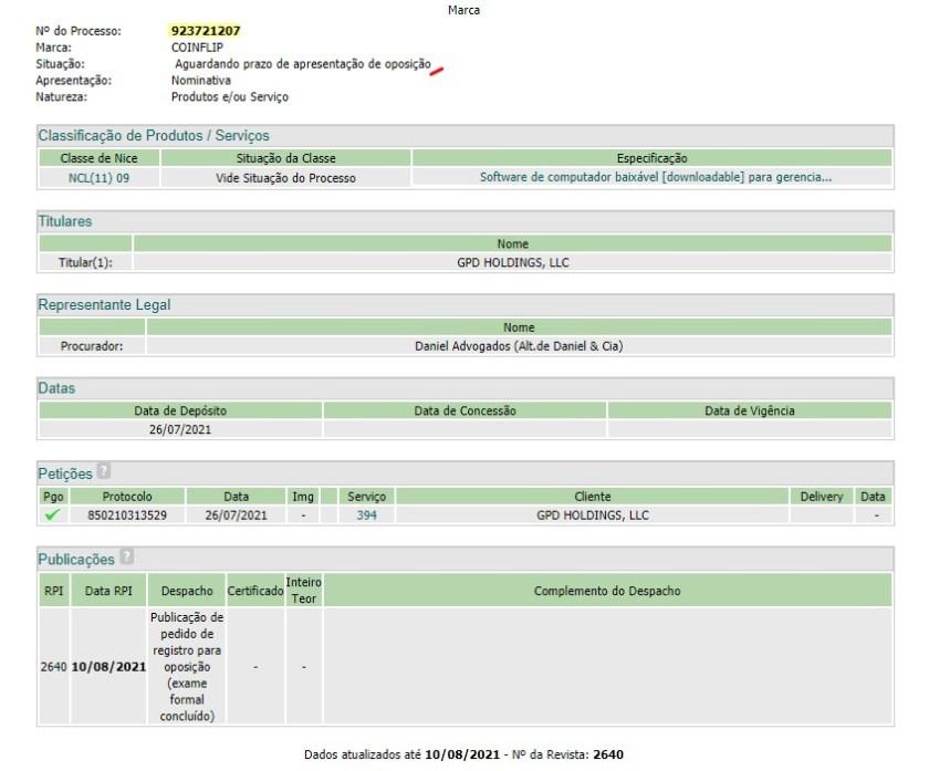CoinFlip's trademark registration is still awaiting deadline for opposition