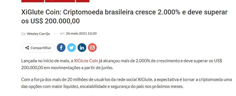 Xiglute Coin appears in news with information that it will value