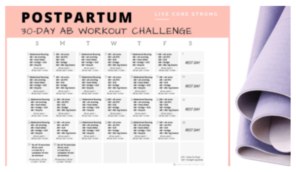 postpartum 30-day ab workout challenge