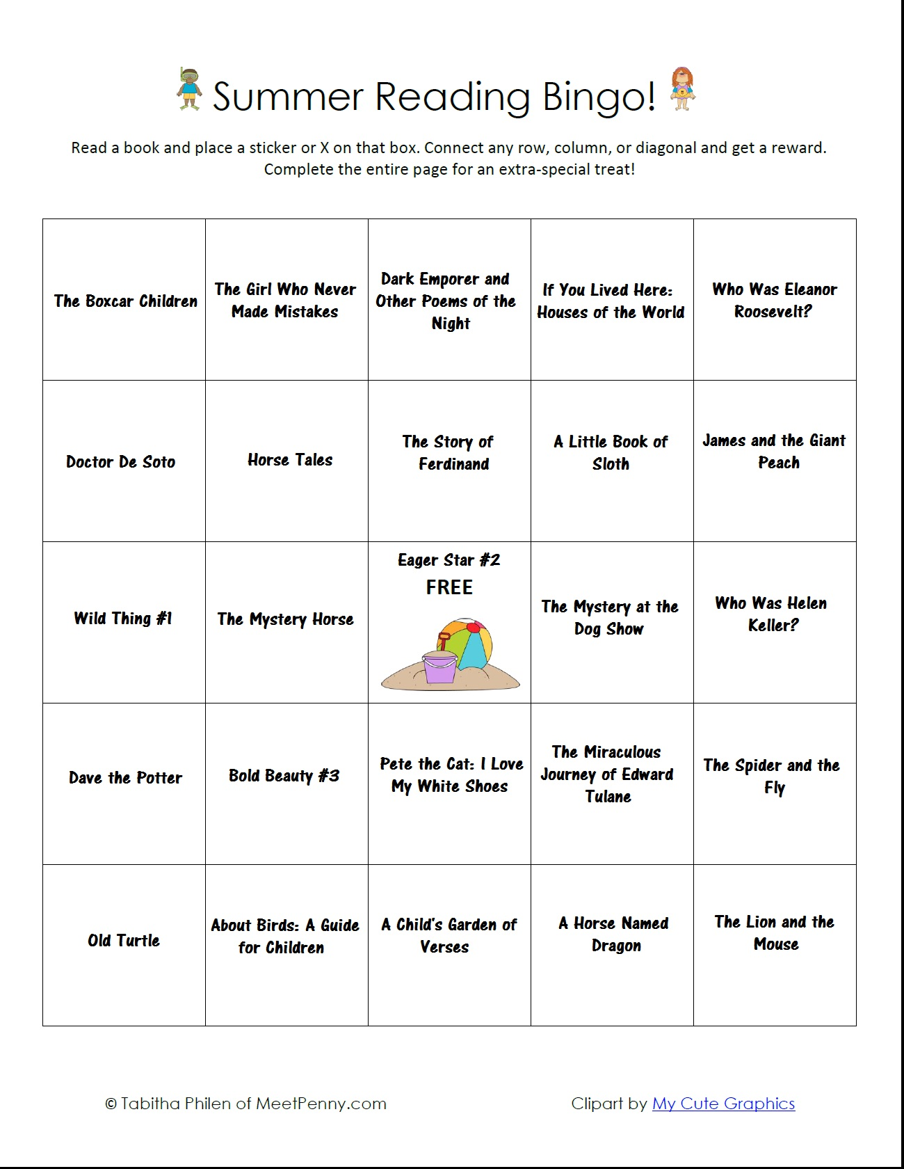 Summer Reading Bingo Free Printable