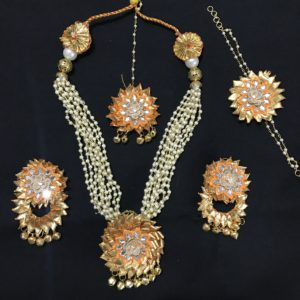 Yellow Gota Jewellery Set for Haldi