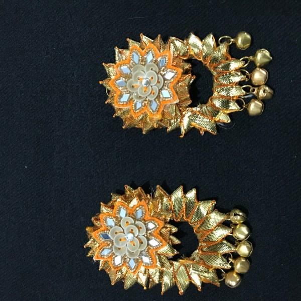 Yellow Gota Jewellery Earrings for Haldi