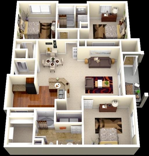 Wow Ini Dia Denah Rumah Minimalis Type 45 3 Kamar Terbaru