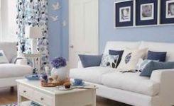 gambar ruang tamu minimalis biru